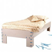 ty-rap bed, ty-rap furniture, ty-rap design, colorply grey, snurk bed clothes, plywood furniture