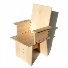 ty-rap armchair, ty-rap furniture, ty-rap design, tie wrap, dutch furniture, dutch design, red ty-rap, maple, design furniture