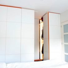 spacedividing closet, orange mdf, white hpl, garments closet, clothes closet, bedroom closet